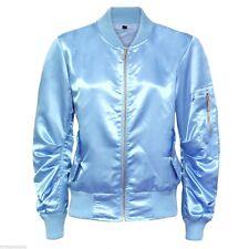 Womens Ladies Ma1 Bomber Satin Jacket Coat Biker Army Celeb Thin Summer Vintage UK S (10) Light Blue