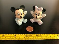 Pair of Vintage Disney  Porcelain 2 inch Figurines - Baby Mickey & Minnie Mouse