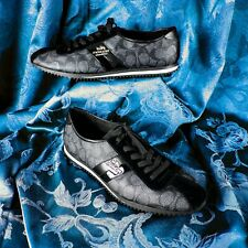 COACH [NEW]   Black with Shiny Strip Women Lace-Up Shoes