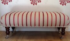 Footstool Stool In Laura Ashley Luxford Stripe Cranberry Fabric