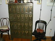 Vintage Metal Steel File Cabinet Draws  Documents Prints Maps Industrial Brass