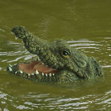 Crocodile Pond Floating Ornament Green Resin Animal Head Sculpture Water Feature