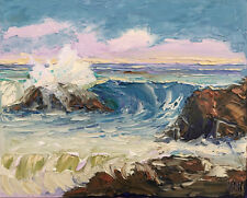 MAUVE Original Seascape Expression Oil Painting 16x20 020218 KEN Kenneth John