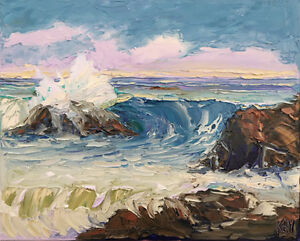 MAUVE Original Seascape Expression Oil Painting 16x20 020218 KEN Kenneth John