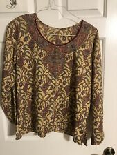 SPARKLY TINY BEADS ADORNED PULLOVER BLOUSE-MULTICOLOR- LONG SLEEVES-SILKY SMOOTH