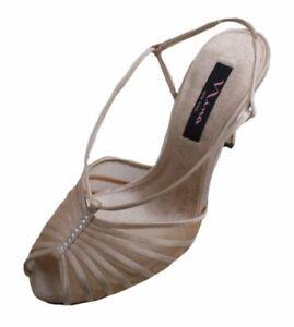 Nina Falda Women's Gold Royal Satin Peep Toe Slingback High Heels size 8