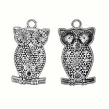 Tibetan Silver Owl Chaton Setting Pendants 34mm Pack of 2 (P17/5)