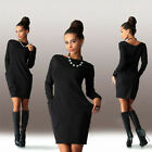 femme Poche pull mini robe manches longues Pull-over fête PULL