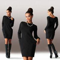 Women Hoodie Sweatshirt Mini Dress Casual Hooded Long Jumper Top Pullover Winter