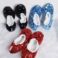 3 Pair Snoozies Sequined Ballerina Slippers MEDIUM Bling