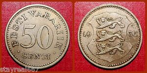 Estonia 50 Senti Cents 1936 Estonia Cent EESTI 50 SENTI KM# 18