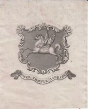 EXLIBRIS BOOKPLATE HERALDIC 19th Cent Coat Of Arms Inner Temple Library (LONDON)