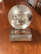 Vintage Bank Of China Paperweight Globe Earth Glass Hologram Building Rare!!