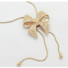 Latest Crystal Bowknot Pendant Long Necklace Rhinestone Butterfly Sweater Chain