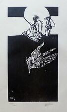 "LEONARD BASKIN ""PORTRAIT FROM OTHELLO "" HAND SIGNED NUMBERED WOODCUT US ARTIST"