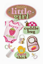 PAPER HOUSE DADDY'S LITTLE GIRL BABY DIMENSIONAL 3D SCRAPBOOK STICKERS