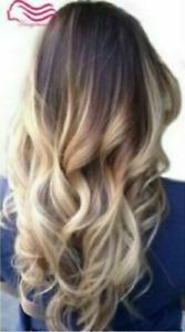 100% Human Hair New Fashion Glamour Women's Long Brown Mix Blonde Wavy Full Wigs