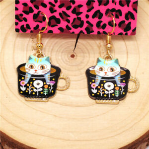 Hot Black Enamel Cute Teacup Kitten Animal Betsey Johnson Women Stand Earrings