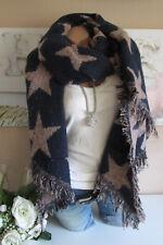 XXL écharpe d'hiver franges Plaid Poncho étole rose bleu foulard réversible