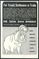 1937 hippo hippopotamus art East Africa travel and development vintage print ad