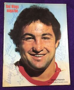 1979-80 DETROIT RED WINGS MAGAZINE = AUTOGRAPHED BY TED LINDSAY-SID ABEL + MORE