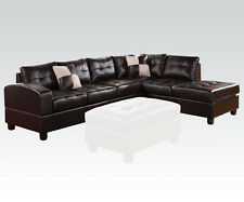 Sectional Espresso Sofa Couch Chaise Tufted Bonded Leather Plush Cushion Pillows
