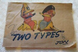 Original WW2 1940's The Two Types by Jon Cartoon Book