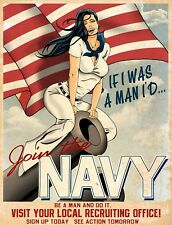 """TIN SIGN """"Join the Navy"""" Patriotic Garage Wall Decor"""
