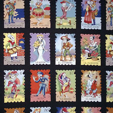 BY YARD-Cartas Marcadas Color Day of Dead Fabric Alexander Henry 7666G Black