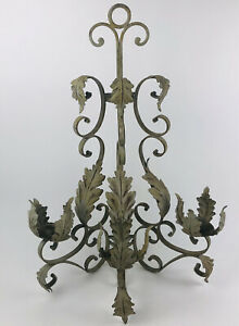"""27-1/2"""" Vtg Antique Wrought Iron 3 Candle Architectural Wall Sconce French"""