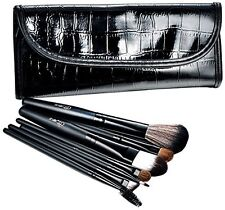 Glow 7 Professional Makeup Brushes Set in Black faux leather case