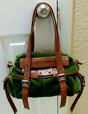 Cynthia Rowley Saddle Leather Plush Green Velvet Shoulder Bag Purse Brown/Green