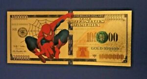 The Avengers Spiderman Gold $1 Million Banknote Marvel Super Heroes