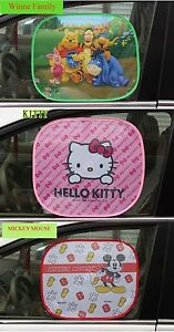 Disney baby Kid children Cartoon Kitty Mickey Winnie Car Window Mesh Sunshade X2