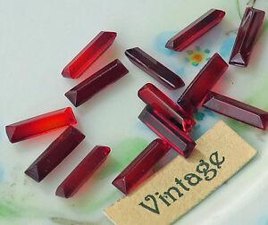 #52D Antique Rhinestones Baguettes Ruby 10x3mm Germany Vintage Rectangle