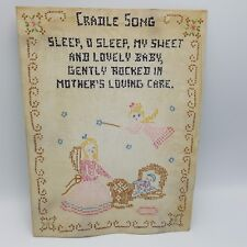 """Vintage Baby Nursery Cross Stitch Cradle Song Angel Pink 9x12"""" Finished"""