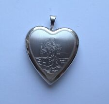 Sterling Silver Heart Shaped Engraved St Christopher Locket