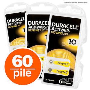 60 Batterie PILE Duracell Activair 10 per Apparecchi Acustici PROTESI udito PR70