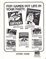 VINTAGE AD SHEET #3535 - 1979 MILTON BRADLEY GAMES - SIMON - MICROVISION