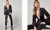 Reformation Black Shiloh Low V Neck 100% Silk Wrap Top Blouse Shirt L Rare