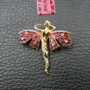 Red Enamel Exquisite Angel Crystal Betsey Johnson Charm Brooch Pin Gift