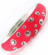 Pink Crystal Silver Bangle Bracelet Enamel Hinged Alloy Oval Fashion Jewelry