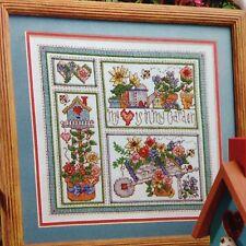 Garden Sampler counted cross stitch magazine pattern, fabric & floss lot