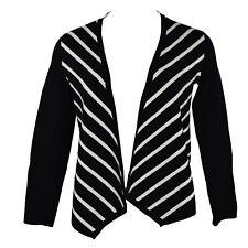 Alfani Open Front Striped Draped Cardigan Sweater Size Pet/Pet Deep Black NWT