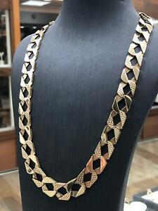 "9ct Diamond Cut BOMBE Chain 375 GENUINE GOLD HEAVY Necklace 22"" - 13mm NEW"