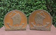 Vintage Arts & Crafts Copper And Brass Bookends - Viking Ship