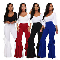 New Women's Solid Color Zipper Ruffled Long Bell-bottoms Pants Trousers Casual