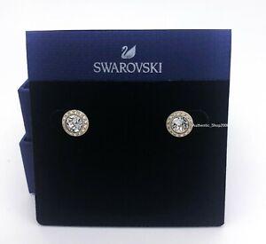 Authentic SWAROVSKI Gold Tone White Crystal Angelic Stud Pierced Earring 5505470