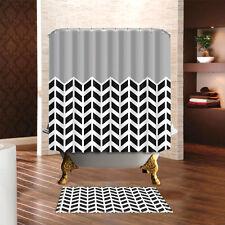 Black & Grey Arrow pattern Waterproof Shower Curtain Panel Sheer With Hooks Set