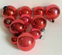 Lot of 11 Vintage Pink & Red Glass Ball Ornaments Shiney Brite Rauch Poland Misc